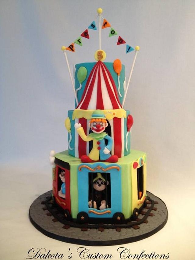 Marvelous Circus Train Birthday Cake Cake By Dakotas Custom Cakesdecor Personalised Birthday Cards Veneteletsinfo