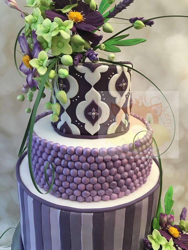 Purple six tier 80th birthday cake