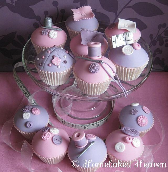 Dressmaker-themed cupcakes