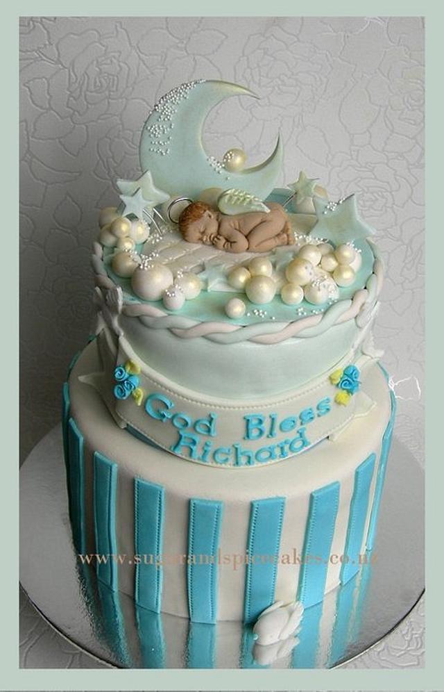 Baby Blue Sleeping Angel Christening Cake ~