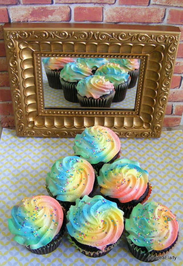 Rainbow cuppies to brighten your day!