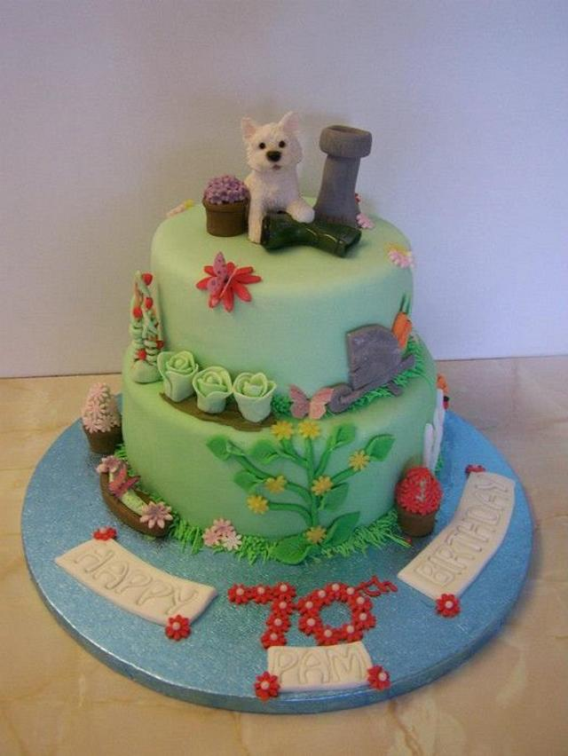 vegetable garden cake with dog topper