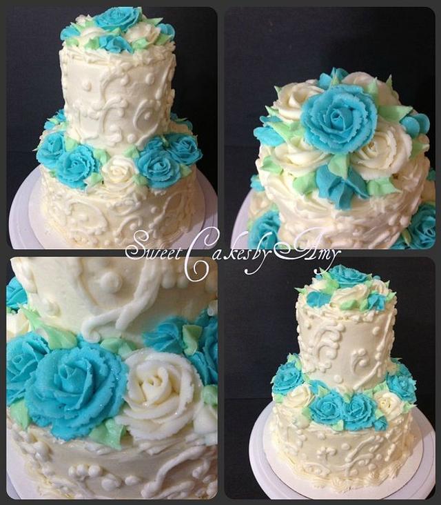 Blue and White anniversary cake
