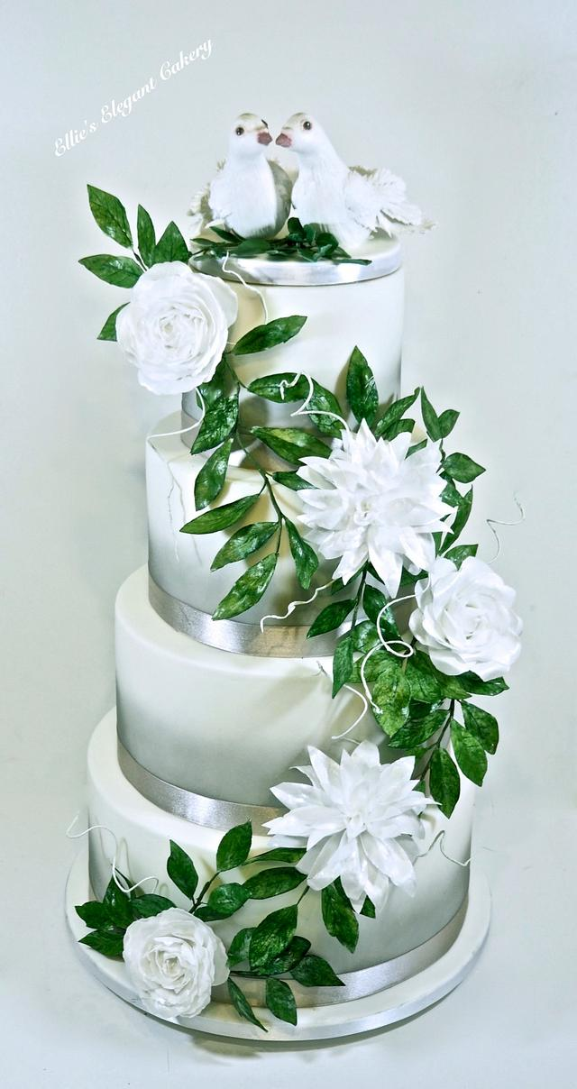 Grey and white wedding cake with wafer paper flowers