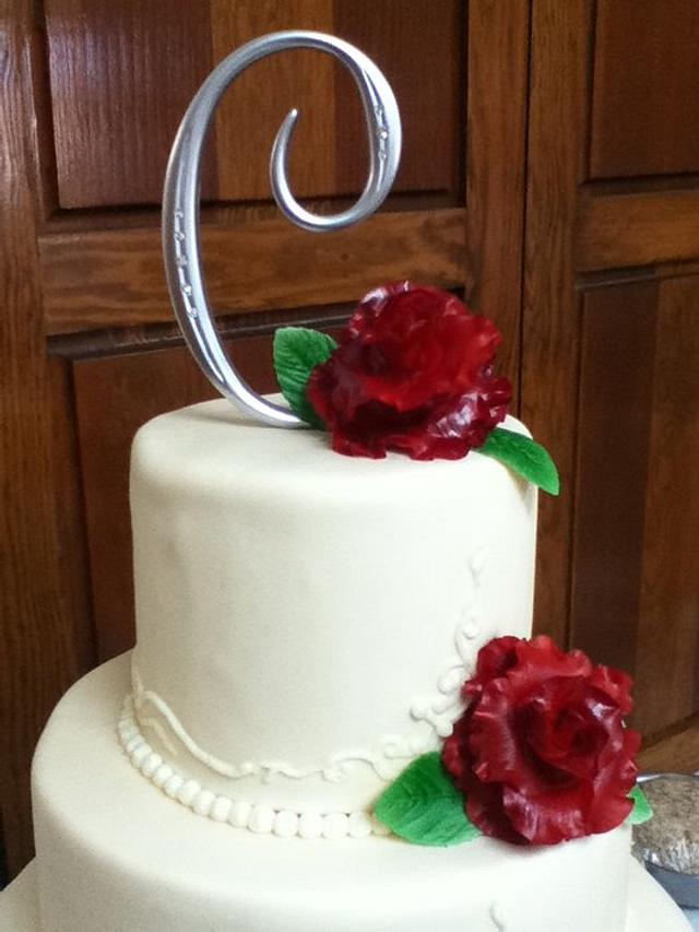 Ivory Wedding with Red Sugar Roses