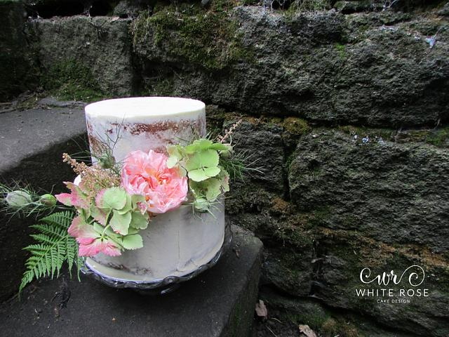 Semi Naked Cake with Fresh Blooms