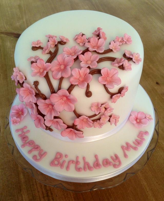 Cherry blossom birthday cake