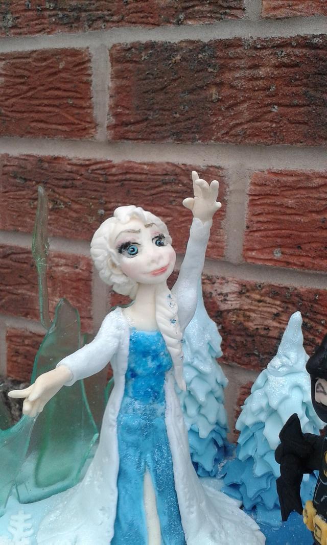 Elsa and Lego Batman cake