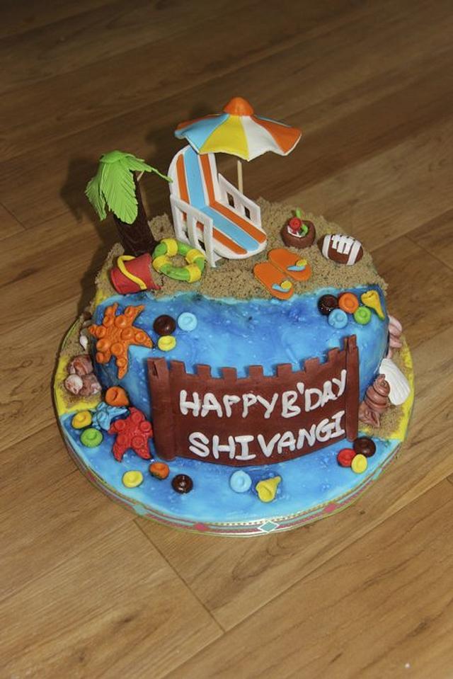 Prime Beach Theme Birthday Cake Cake By Shruti Cakesdecor Funny Birthday Cards Online Overcheapnameinfo