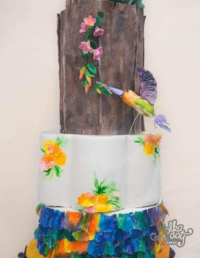 Humming bird wedding cake