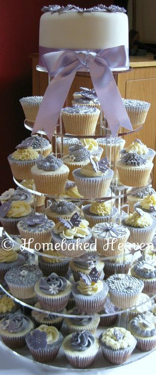 Wedding cupcake tower in lavender