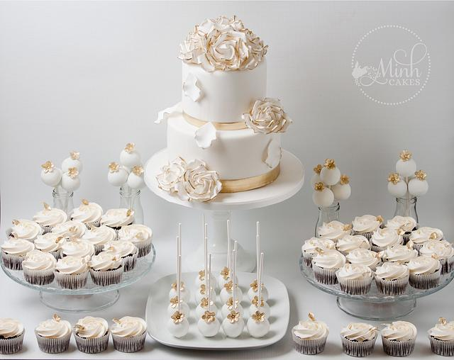 Sweet Wedding Dessert Table In Gold And White Cake By Cakesdecor
