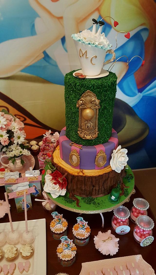 Alice in Wonderland  garden party cake