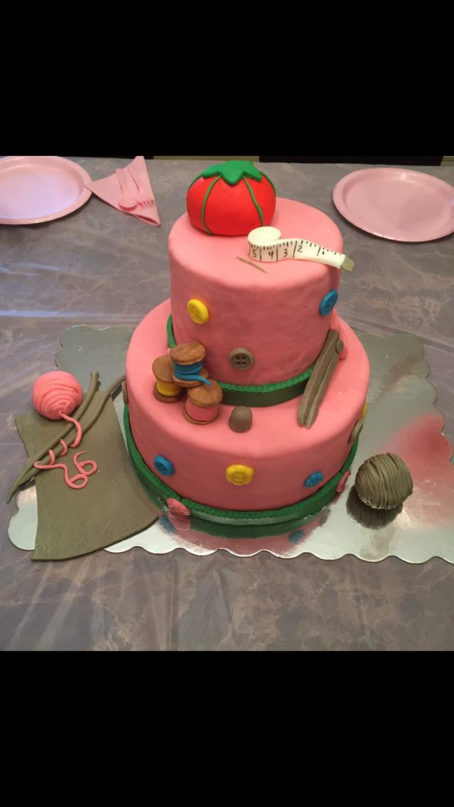 Grandma crafting cake