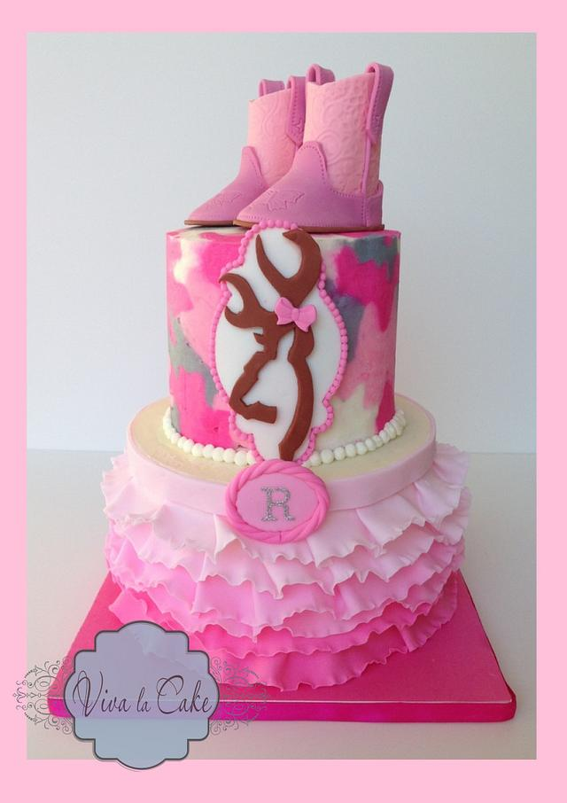 Peachy Pink Camo And Ruffles Cake Cake By Joly Diaz Cakesdecor Funny Birthday Cards Online Overcheapnameinfo