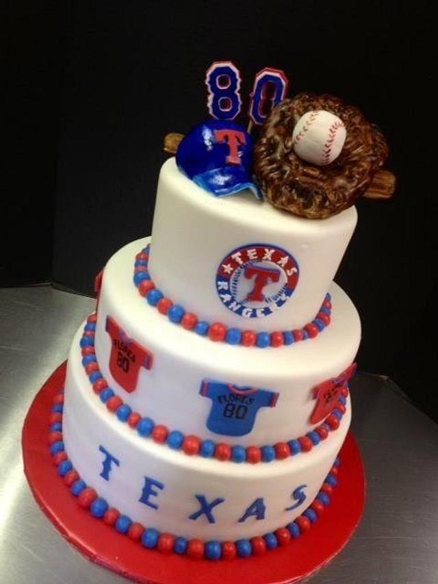 Wondrous Texas Rangers Birthday Cake Cake By Sweet Life Of Cakes Cakesdecor Personalised Birthday Cards Veneteletsinfo