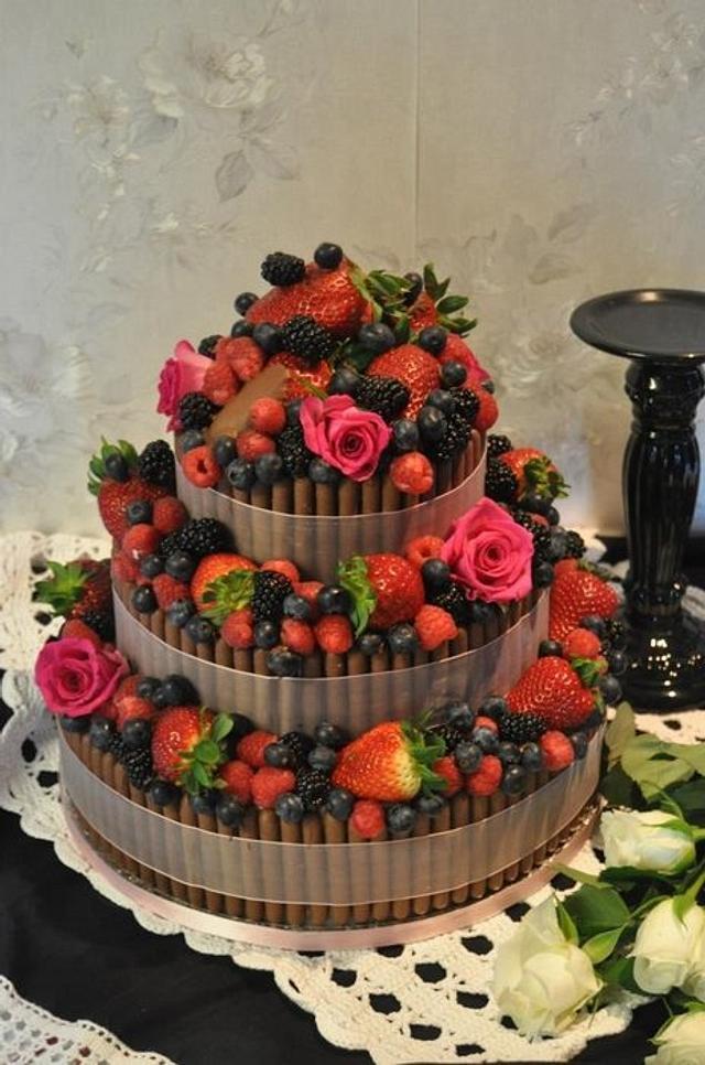 Chocolate and fruit wedding cake