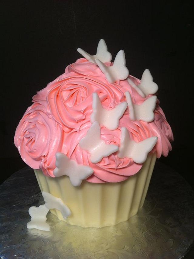 Pink Roses and Butterflies Giant Cupcake