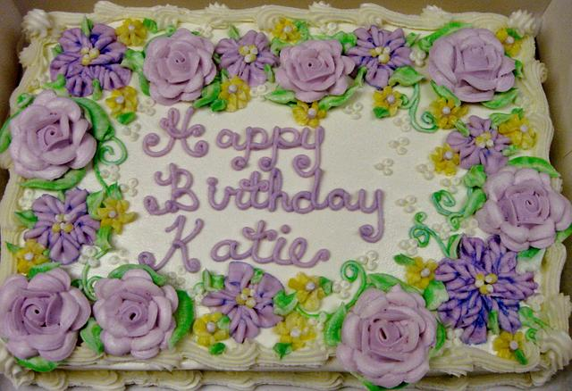 Buttercream purple flower cake