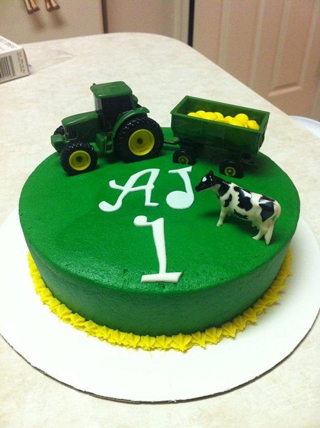 John Deere/Farm Animal smash cake