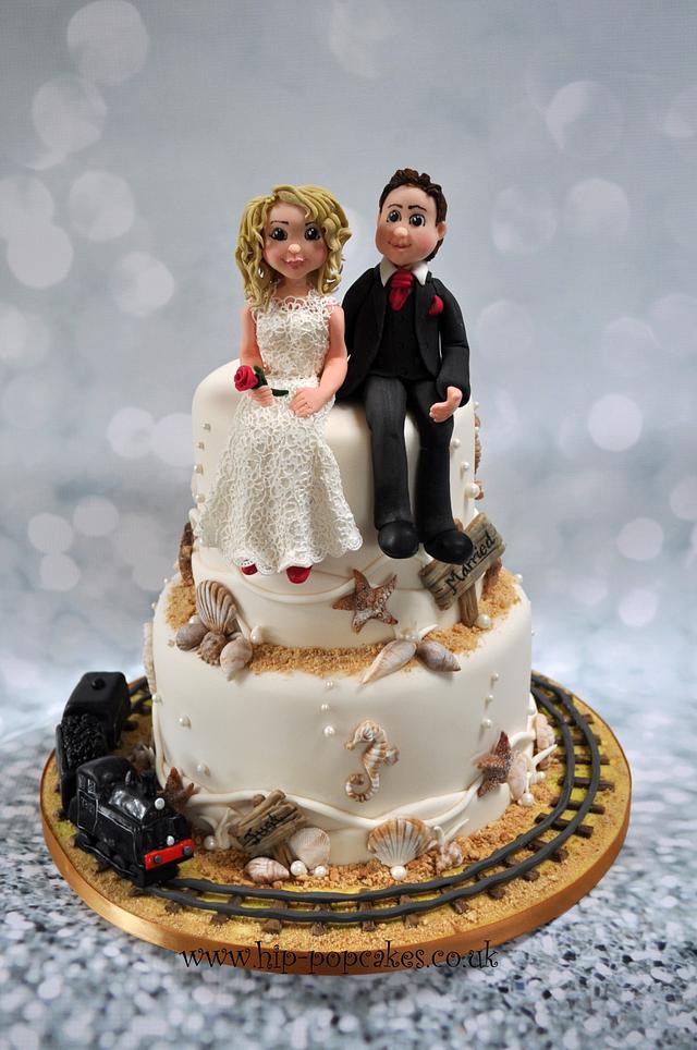 Beach wedding cake - Swanage railway