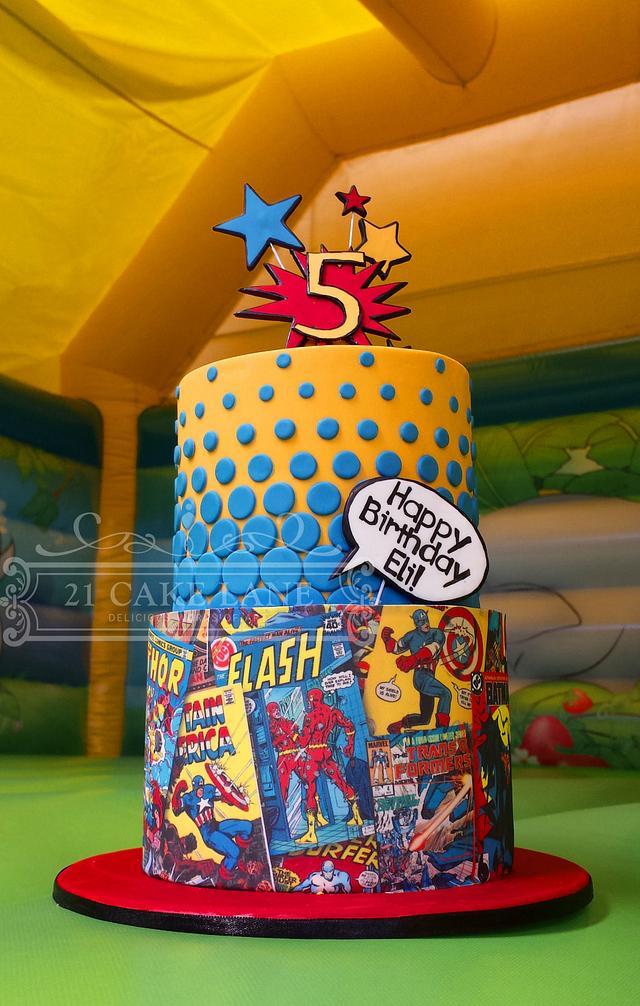 Superhero comic book cake