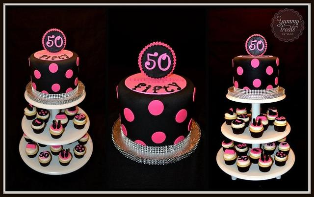 50th Birthday cupcake tower!