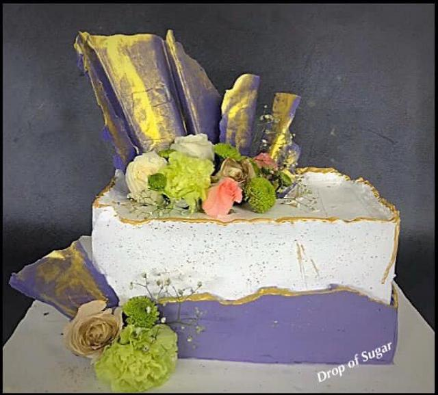 Pastel Whipped Cream Fault Line Cake