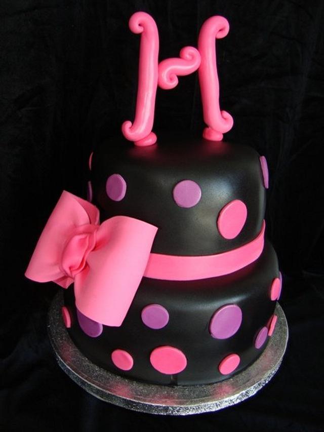 Pink and Purple Polka Dot Cake