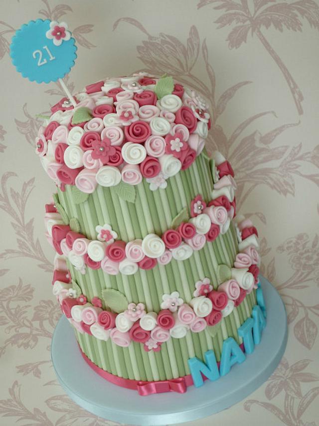 Three tier rose bouquet cake