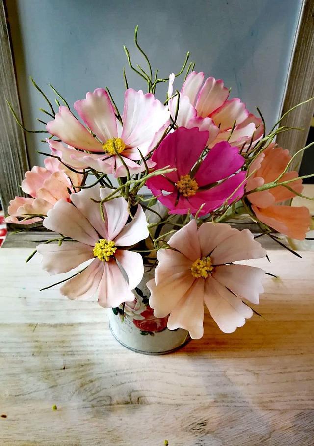 Sugar Cosmos flowers  class by Mina Bakalova