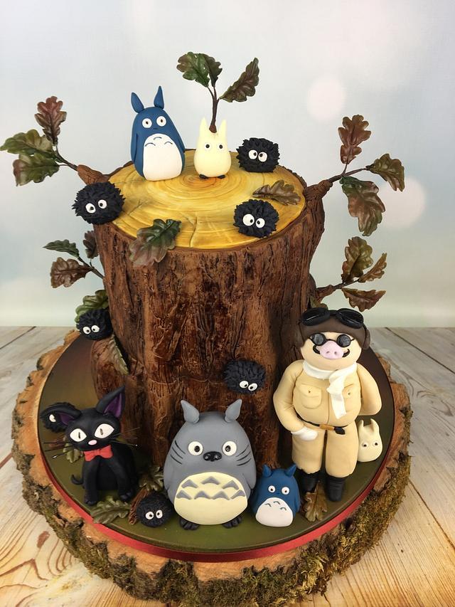 Totoro and friends anime wedding cake