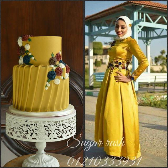 engagement dress cake