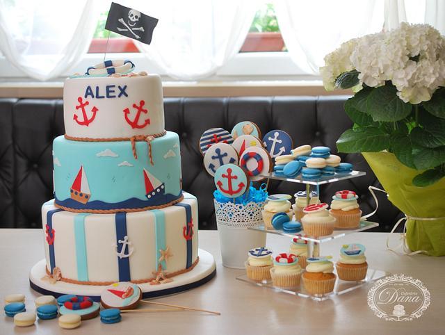 Nautical birthday cake and candy bar