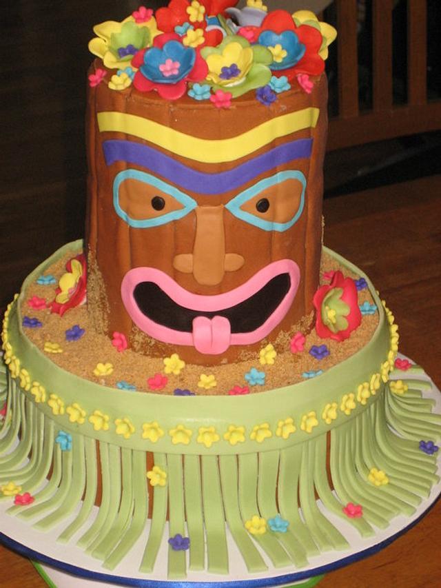 Tiki Man Cake Hula Luau Party