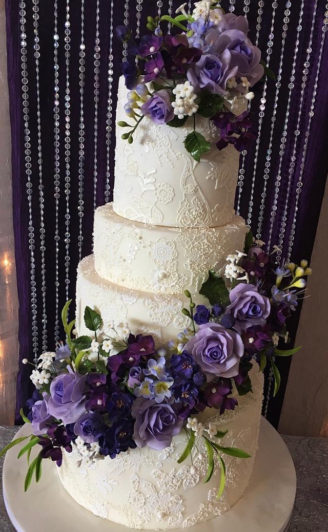 Purple and Lace Wedding Cake