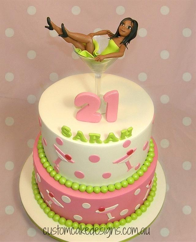 Martini Girl in Glass 21st Cake