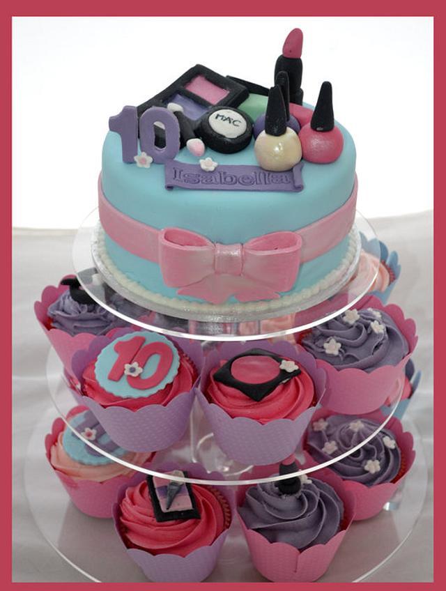 Little girls makeup cupcake tower