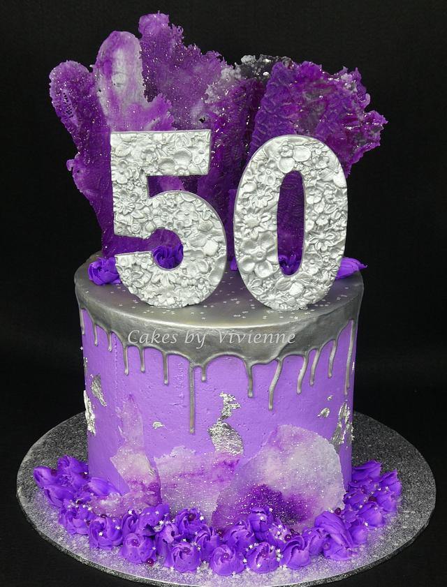 Purple and Silver 50th Birthday Cake
