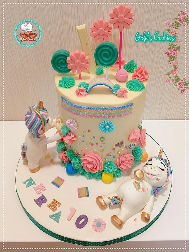 Fat unicorns rainbow cake