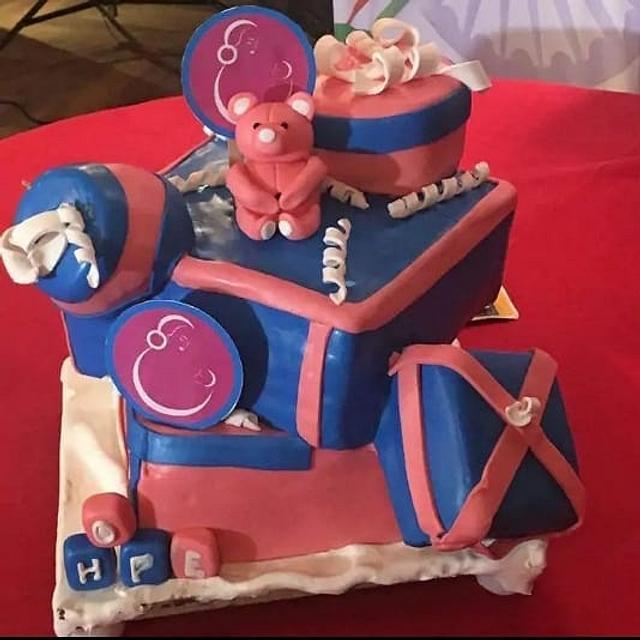 Gift box theme cake