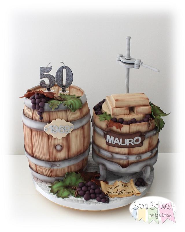 Barrel & grapes press cake