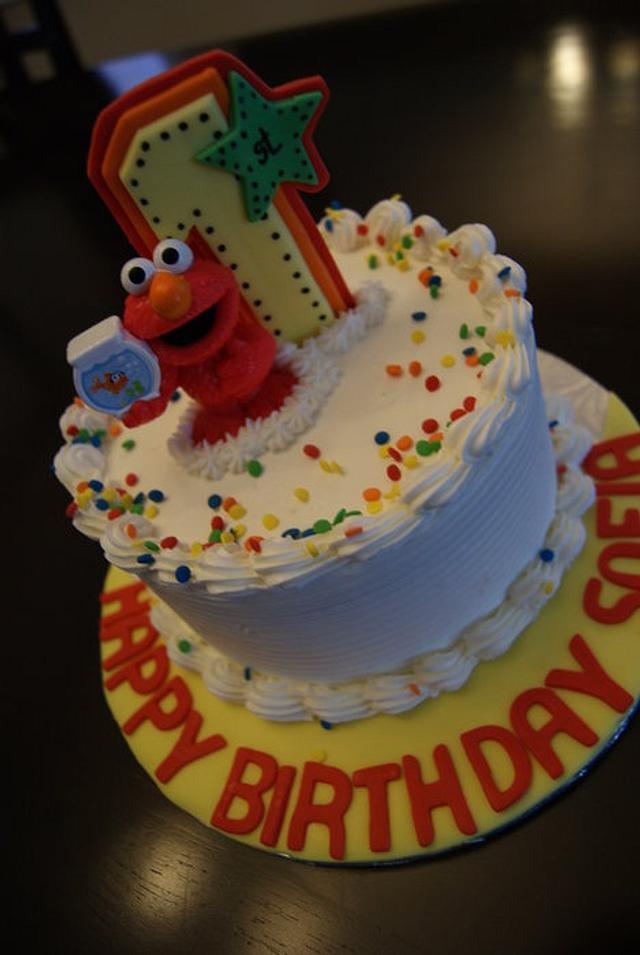 Rainbow 1st Birthday Cake with Elmo Mini Cake