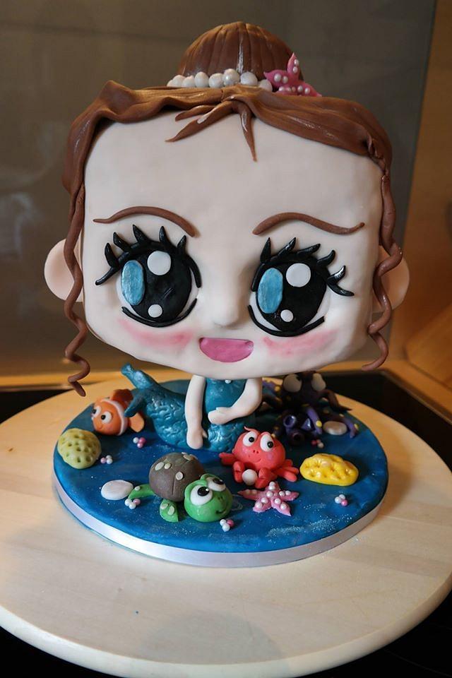chibi mermaid birthday cake