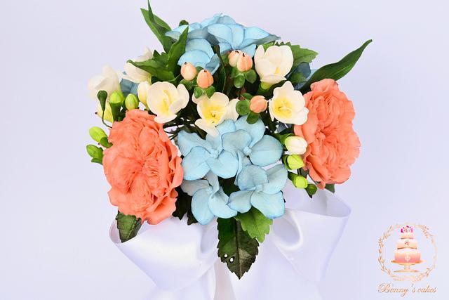 Bridal bouquet of sugar flowers