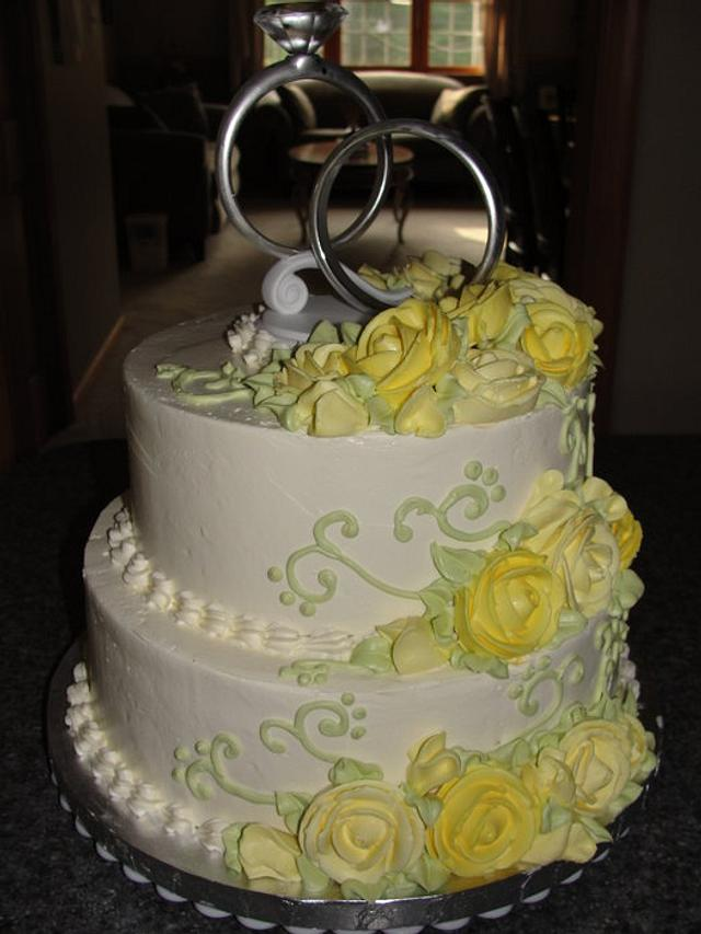 Yellow butter cream roses Bridal shower