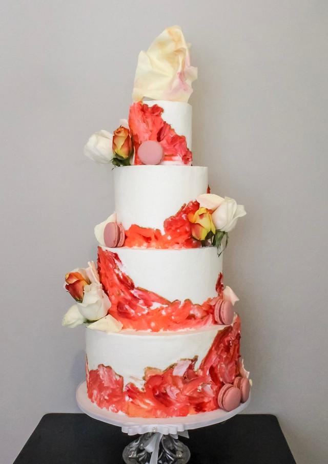 Painted Buttercream Wedding Cake