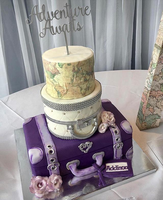 Suitcase/world map baby shower cake