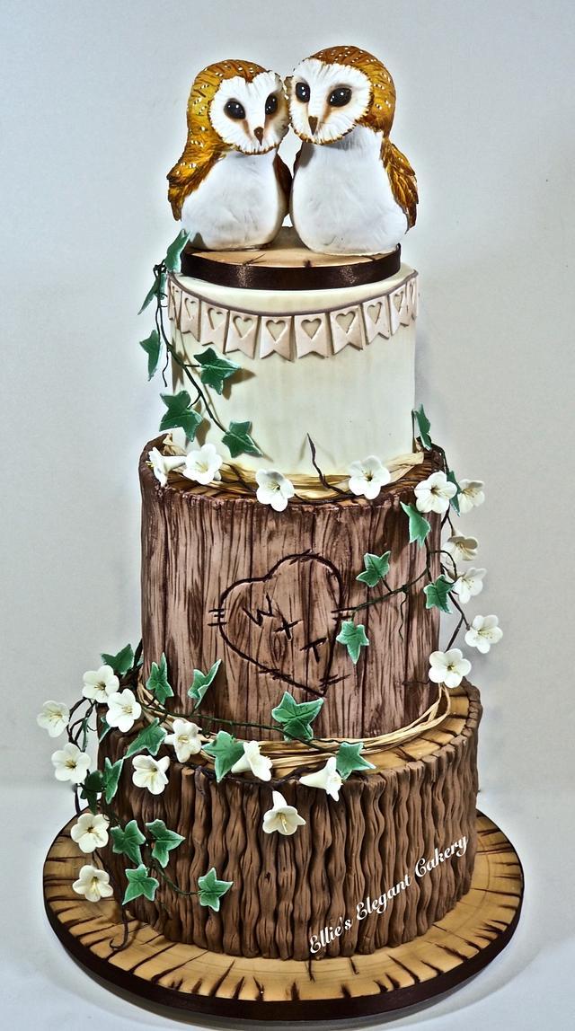 Rustic Owl Wedding Cake