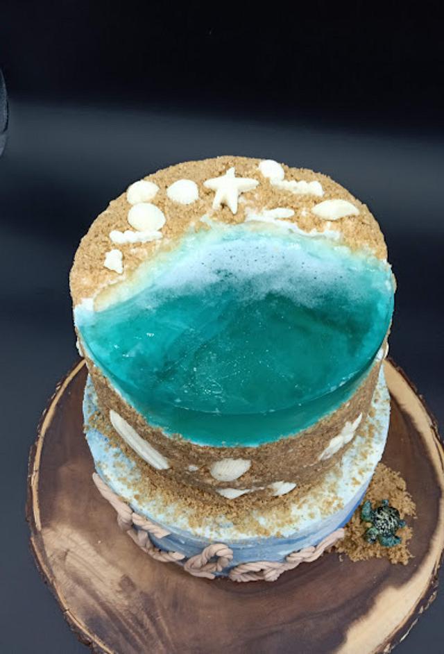 Beach-themed Jelly Cake